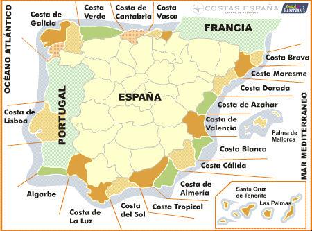 Nom et description des plages et côtes en Espagne
