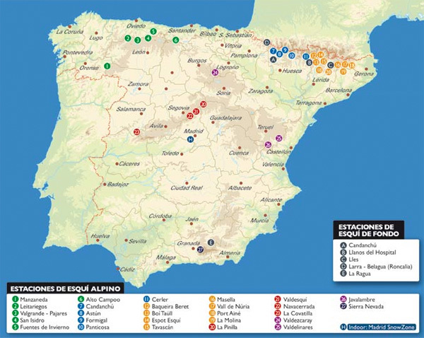 Guides des stations de ski en Espagne
