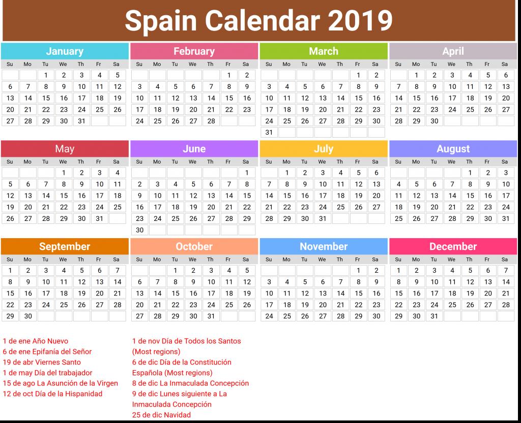 Calendrier Feries 2019.Bon A Savoir Les Jours Feries Dans Toute L Espagne En 2019