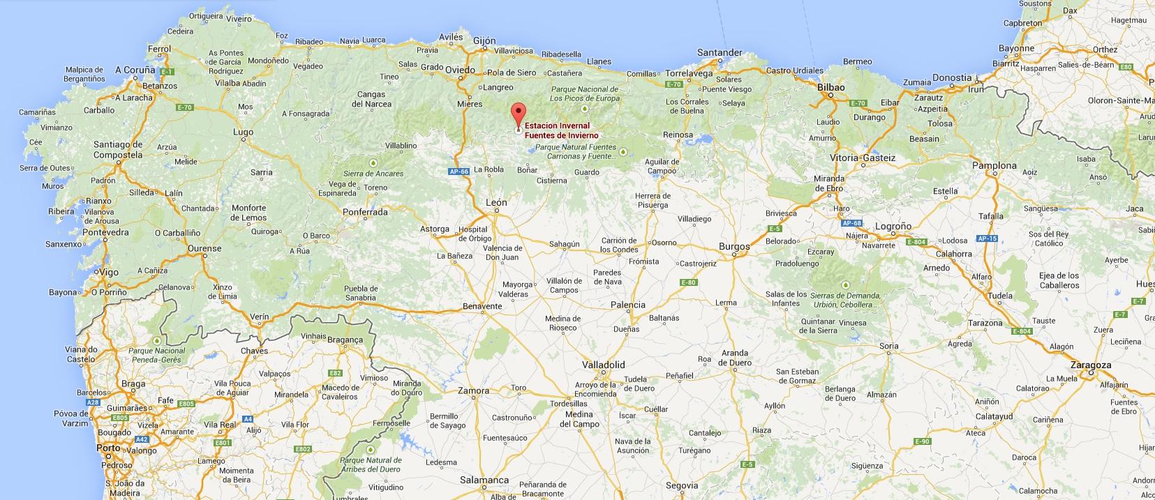 Carte Espagne Gijon.Ski En Cantabrie Proche De La Corogne Gijon Et Santander